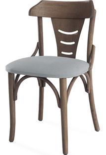 Cadeira Para Cozinha Estofada Augustine - Stain Nogueira - Tec.915 Cinza Claro - 45X50,5X83 Cm