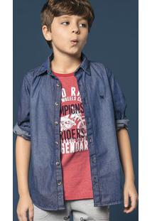 Camisa Jeans Infantil Menino Com Lavação Escura Hering Kids