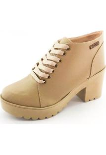 Bota Coturno Quality Shoes Feminina Nude 34