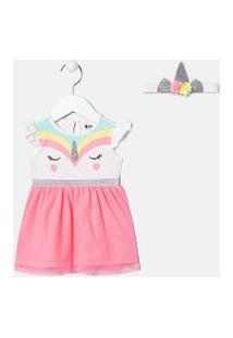 Vestido Infantil Estampa Unicórnio E Saia Em Tule Com Glitter - Tam 0 A 18 Meses | Teddy Boom (0 A 18 Meses) | Branco | 6-9M
