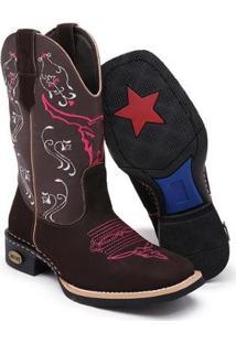 Bota Texana Couro Cano Alto Leve Rodeio Conforto Dia A Dia - Feminino-Marrom+Rosa