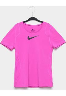 Camiseta Infantil Nike Top Ss Manga Curta Feminina - Feminino-Pink+Preto