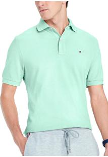 Polo Tommy Hilfiger Masculina Custom Fit Soothing Sea