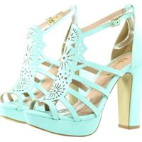 7f0c955b7b Kanui. Sandália Week Shoes Salto Grosso Corte Laser Turquesa Tiffany