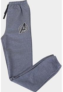 Calça Moletom Infantil Marvel Avengers Masculina - Masculino-Mescla Escuro