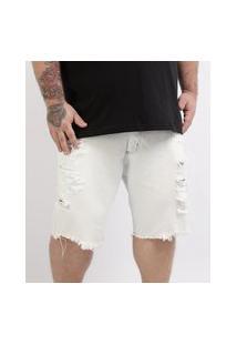 Bermuda Jeans Masculina Plus Size Reta Destroyed Branca