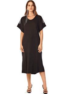 T-Shirt Iodice Dress Compose De Tecidos Preto