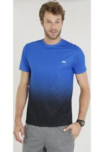 Camiseta Masculina Esportiva Ace Degradê Manga Curta Gola Careca Azul Royal