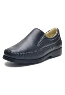 Sapato Social Fepo Store Couro Costura Manual E Elastico Preto