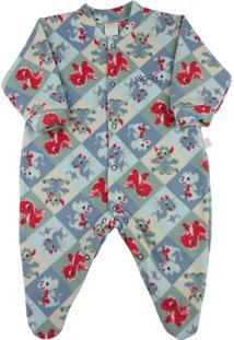 Macacão Pijama Infantil Ano Zero Estampado - Masculino-Azul
