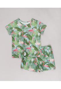 Conjunto Infantil De Blusa Estampada De Flamingos Manga Curta + Short Verde Água