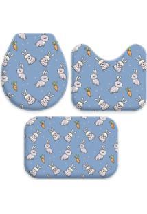 Jogo Tapetes Love Decor Para Banheiro Cute Easter Azul Único