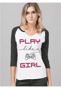 Camiseta Manga Longa Feminina Bdplayer Play Like A Girl - Feminino-Branco+Preto