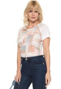 Camiseta Acostamento Geométrica Off-White/Rosa