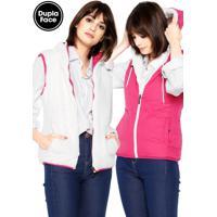 7a97ad7e06667 Colete Polo Wear Dupla-Face Pelo Rosa Branco