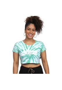 Camiseta Cropped Kings Sneakers Tie Dye Verde - G
