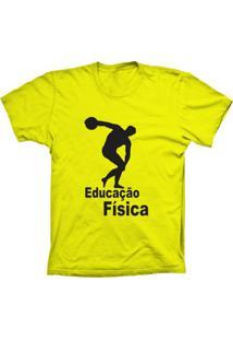 Camiseta Baby Look Lu Geek Educação Física Amarelo