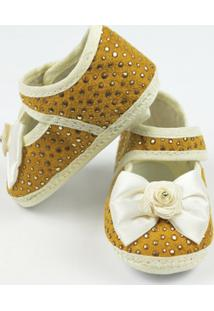Sapato Bebê Feminino Mostarda E Dourado-P - Feminino-Mostarda