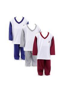 Kit 3 Pijamas Infantil Longo Menino Soneca & Cia Multicolorido