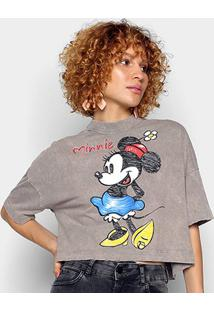 Camiseta Colcci Cropped Minnie Feminina - Feminino