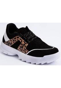Tênis Feminino Sneaker Recorte Animal Print Ramarim