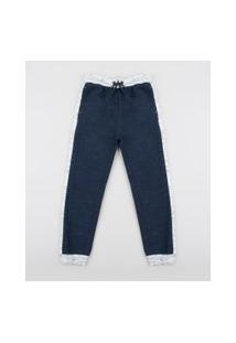 Calça De Moletom Infantil Jogger Azul Marinho