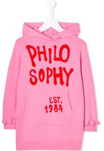Philosophy Di Lorenzo Serafini Kids Vestido De Moletom Com Estampa De Logo - Rosa