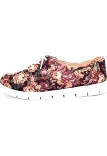 Oxford Tratorado Quality Shoes Floral Feminino - Feminino-Preto+Salmão