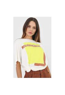 Camiseta Lança Perfume Oversize Logomania Off-White/Amarelo