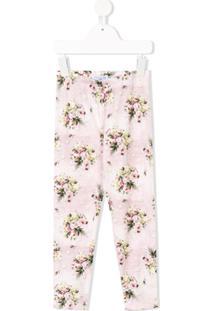 Monnalisa Legging Com Estampa Floral - Rosa