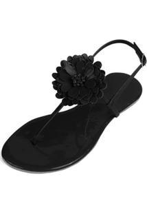 Rasteira Mercedita Shoes Verniz Flor Feminina - Feminino-Preto
