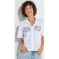 0145a656f Camisa Branca Quintess Com Aplicação Em Floral