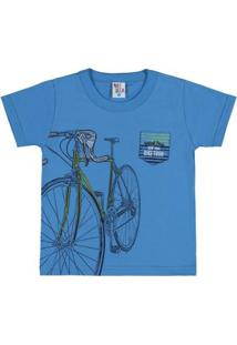 Camiseta Infantil Pulla Bulla Meia Malha Masculino - Masculino-Azul