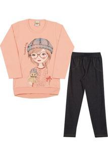 Conjunto Infantil Blusa Girl Em Meia Malha E Legging Em Cotton Feminino - Feminino