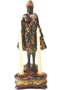 Candelabro Decorativo De Resina Buddah Para 2 Velas