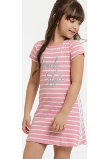 Vestido Infantil Listrado Glitter Manga Curta