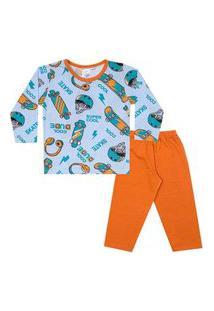 Conjunto Pijama Menino Em M/Malha Camiseta Rotativa Fone De Ouvido Azul Bebê E Calça Laranja - Liga