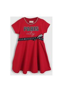 Vestido Milon Infantil Paris Vermelho