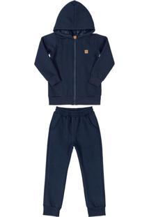 Conjunto Jaqueta Com Pelo E Calça Azul