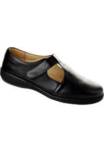 Sapato Conforto Couro Enjoy Opananken Feminino - Feminino-Preto