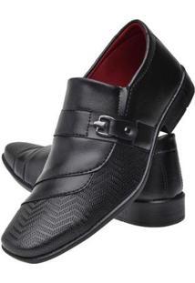 Sapato Social Masculino Textura Bico Quadrado Leve Macio - Masculino-Preto