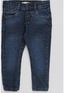Calça Jeans Infantil Com Recortes Azul Escuro
