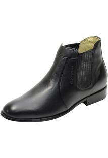 Botina Social Conforto Atron Shoes 710 Couro Preto