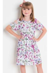 Vestido Infantil Floral Com Abertura No Ombro