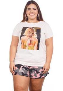 Camiseta Plus Size Estampada Glitter Feminina - Feminino