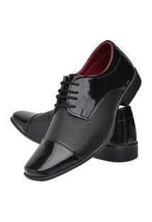 Sapato Social Amarrar Torrenezzi Estampa Diamante - Preto Verniz