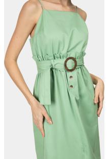 Vestido Com Alças Mídi Cinto Verde Inspire - Lez A Lez