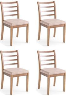 Conjunto Com 4 Cadeiras De Jantar Teca Marrom Claro E Imbuia