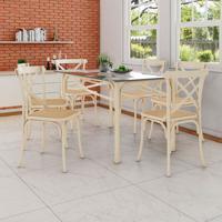 87dd0c6a4 Conjunto De Mesa De Jantar Com 6 Cadeiras E Tampo De Vidro Katrina Bege