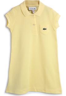 Vestido Polo Lacoste Kids Liso Amarelo